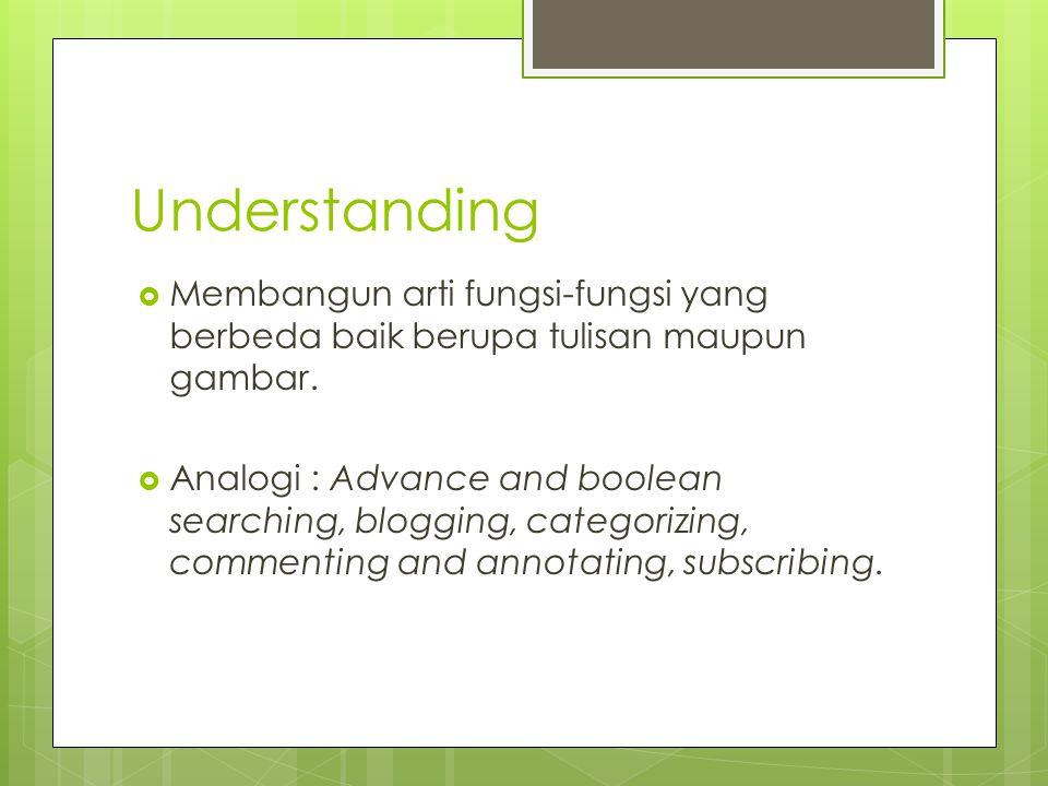 Understanding  Membangun arti fungsi-fungsi yang berbeda baik berupa tulisan maupun gambar.