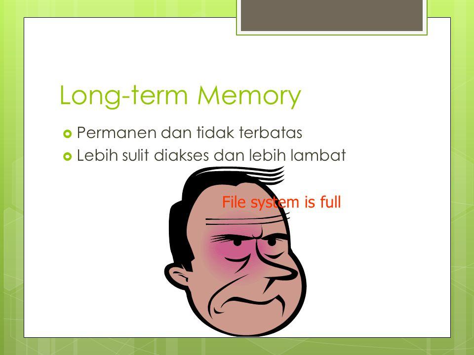 Struktur Long Term Memory  Episodic Memory Kejadian dan pengalaman dalam bentuk serial Dapat membantu untuk mengingat apa yang terjadi  Semantic Memory Catatan fakta, konsep, dan keahlian secara terstruktur Salah satu teori mengatakan bentuknya seperti jaringan