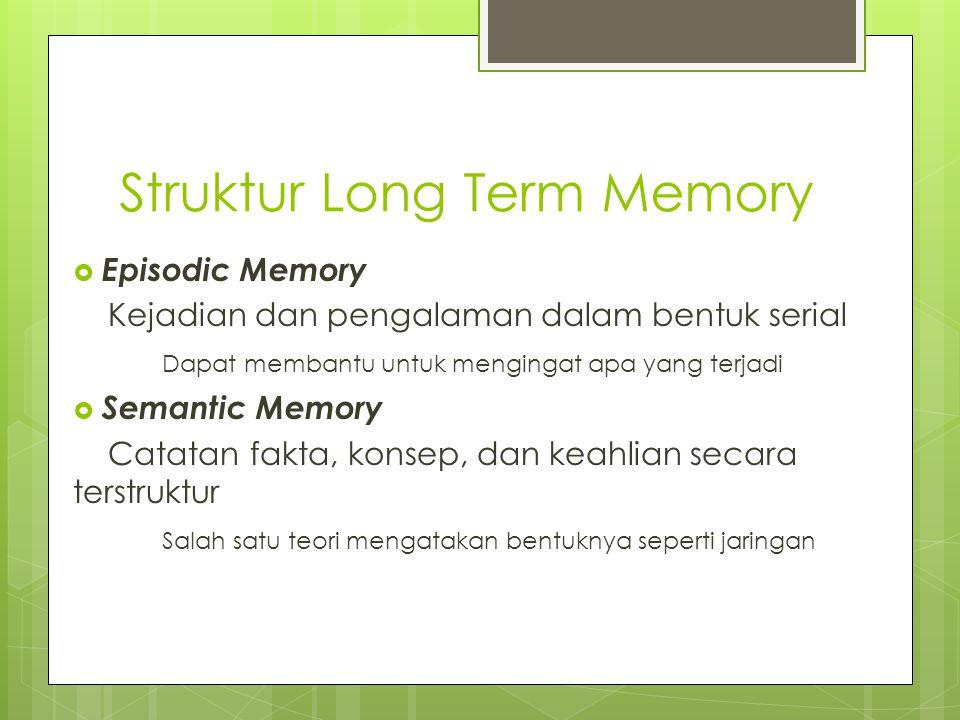 Memori Semantik  Struktur:  Menyediakan akses ke informasi  Merepresentasikan hubungan antara bit-bit informasi  Mendukung inferensi