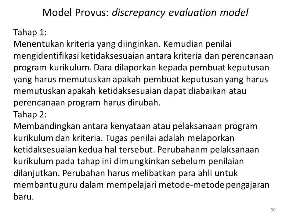 30 Model Provus: discrepancy evaluation model Tahap 1: Menentukan kriteria yang diinginkan.