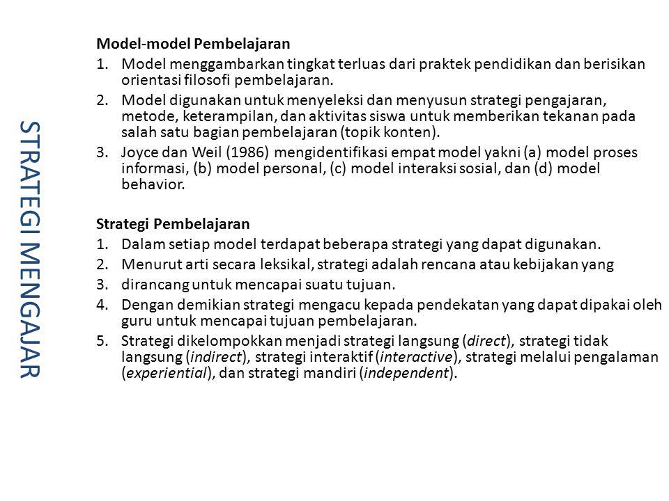 Model-model Pembelajaran 1.Model menggambarkan tingkat terluas dari praktek pendidikan dan berisikan orientasi filosofi pembelajaran.