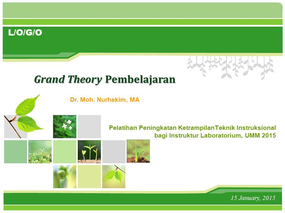 L/O/G/O Pelatihan Peningkatan KetrampilanTeknik Instruksional bagi Instruktur Laboratorium, UMM 2015 15 January, 2015 Grand Theory Pembelajaran Dr.