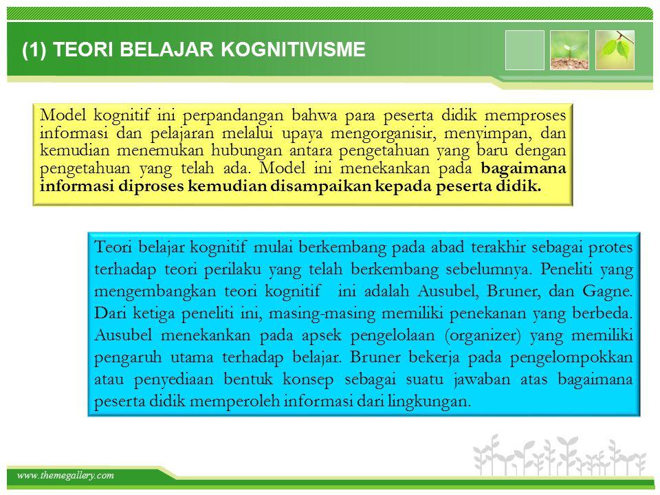 www.themegallery.com (2) TEORI BELAJAR BEHAVIORISME Teori behaviorisme—dengan model hubungan stimulus - responnya, mendudukkan orang yang belajar sebagai individu yang pasif.