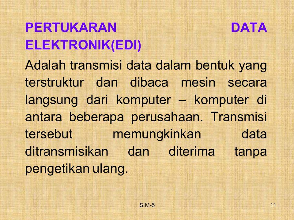 SIM-511 PERTUKARAN DATA ELEKTRONIK(EDI) Adalah transmisi data dalam bentuk yang terstruktur dan dibaca mesin secara langsung dari komputer – komputer