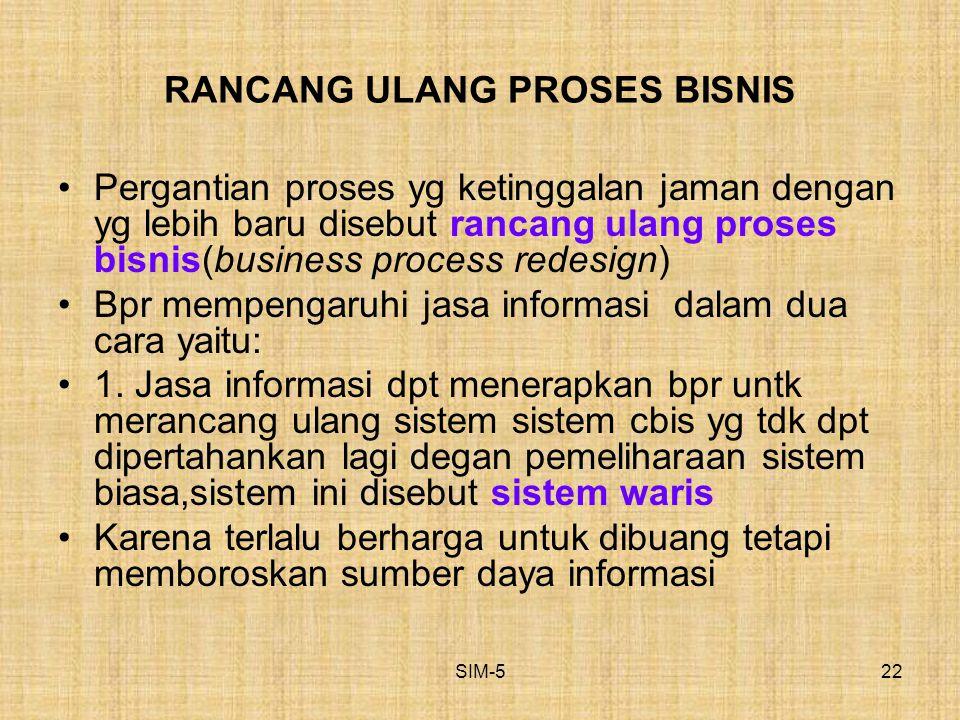 SIM-522 RANCANG ULANG PROSES BISNIS Pergantian proses yg ketinggalan jaman dengan yg lebih baru disebut rancang ulang proses bisnis(business process r