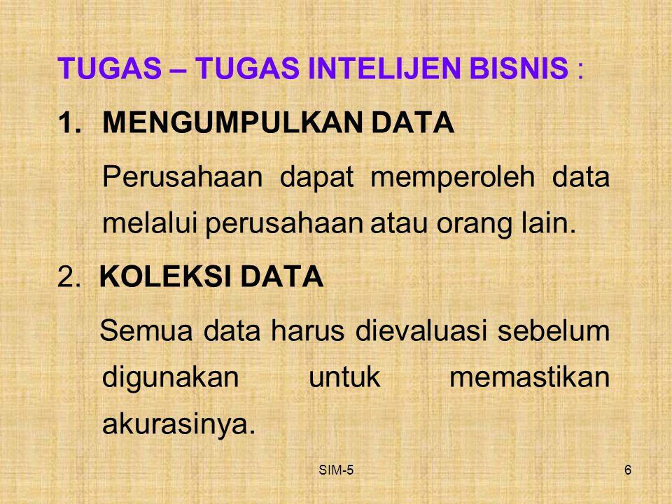SIM-56 TUGAS – TUGAS INTELIJEN BISNIS : 1.MENGUMPULKAN DATA Perusahaan dapat memperoleh data melalui perusahaan atau orang lain. 2. KOLEKSI DATA Semua