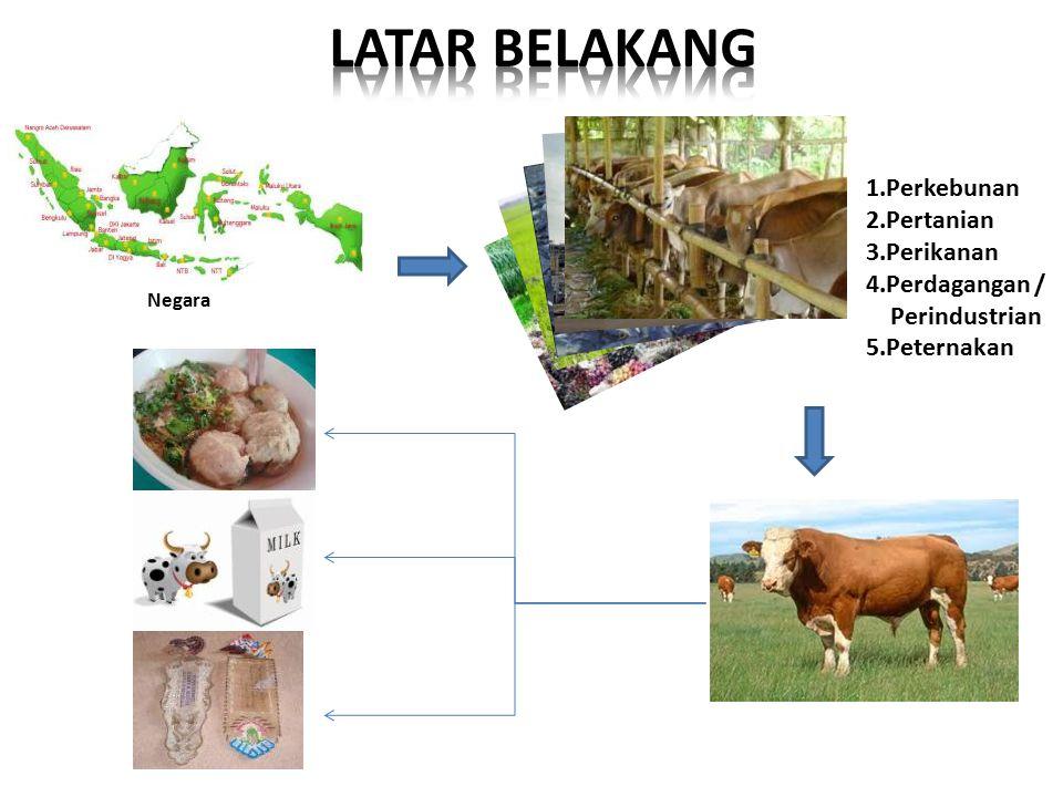 1.Perkebunan 2.Pertanian 3.Perikanan 4.Perdagangan / Perindustrian 5.Peternakan Negara