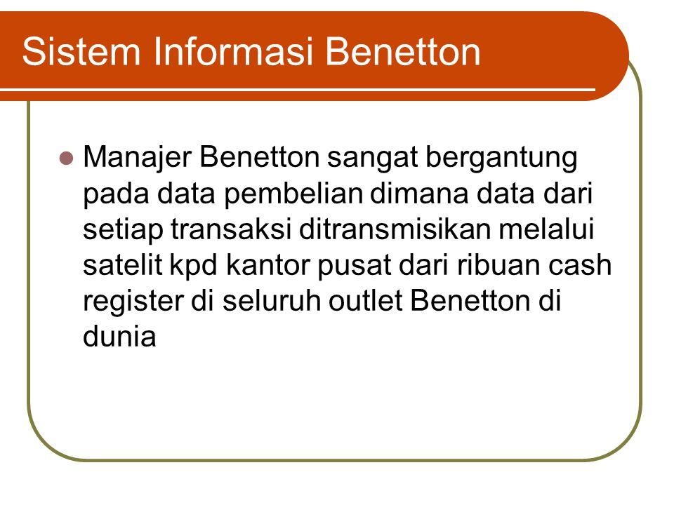 "Sistem Informasi Benetton Luciano Benetton, pendiri Benetton, menyatakan bahwa ""Benetton's market is very dynamic and evolving rapidly"" Sistem Informa"
