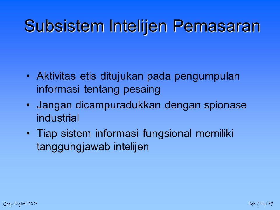 Copy Right 2005Bab 7 Hal 39 Subsistem Intelijen Pemasaran Aktivitas etis ditujukan pada pengumpulan informasi tentang pesaing Jangan dicampuradukkan dengan spionase industrial Tiap sistem informasi fungsional memiliki tanggungjawab intelijen