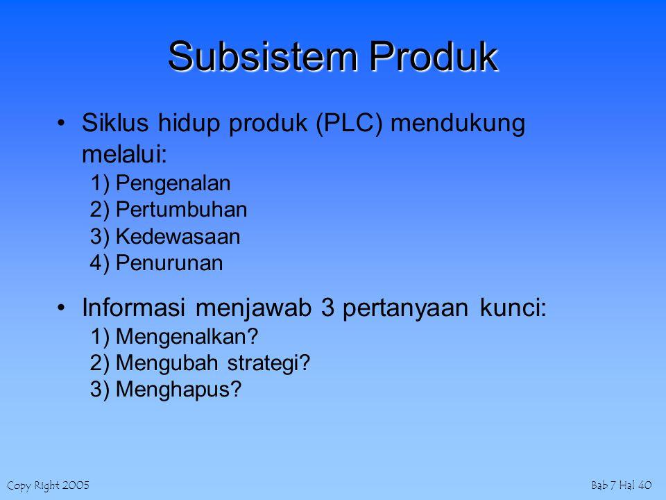Copy Right 2005Bab 7 Hal 40 Subsistem Produk Siklus hidup produk (PLC) mendukung melalui: 1) Pengenalan 2) Pertumbuhan 3) Kedewasaan 4) Penurunan Informasi menjawab 3 pertanyaan kunci: 1) Mengenalkan.