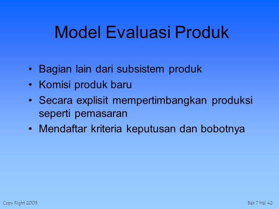 Copy Right 2005Bab 7 Hal 42 Model Evaluasi Produk Bagian lain dari subsistem produk Komisi produk baru Secara explisit mempertimbangkan produksi seperti pemasaran Mendaftar kriteria keputusan dan bobotnya