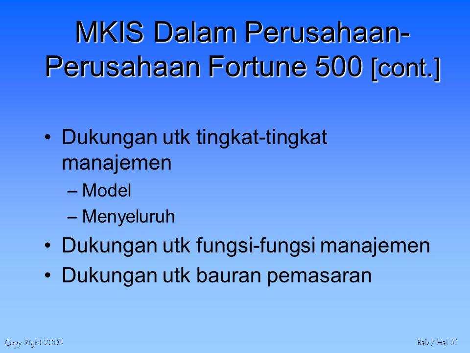 Copy Right 2005Bab 7 Hal 51 MKIS Dalam Perusahaan- Perusahaan Fortune 500 [cont.] Dukungan utk tingkat-tingkat manajemen –Model –Menyeluruh Dukungan utk fungsi-fungsi manajemen Dukungan utk bauran pemasaran