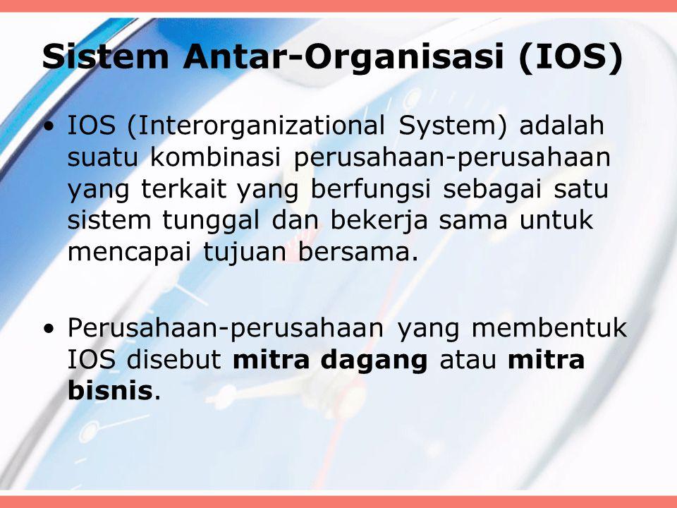 Sistem Antar-Organisasi (IOS) IOS (Interorganizational System) adalah suatu kombinasi perusahaan-perusahaan yang terkait yang berfungsi sebagai satu sistem tunggal dan bekerja sama untuk mencapai tujuan bersama.