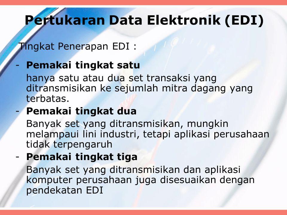 Pertukaran Data Elektronik (EDI) Tingkat Penerapan EDI : -Pemakai tingkat satu hanya satu atau dua set transaksi yang ditransmisikan ke sejumlah mitra