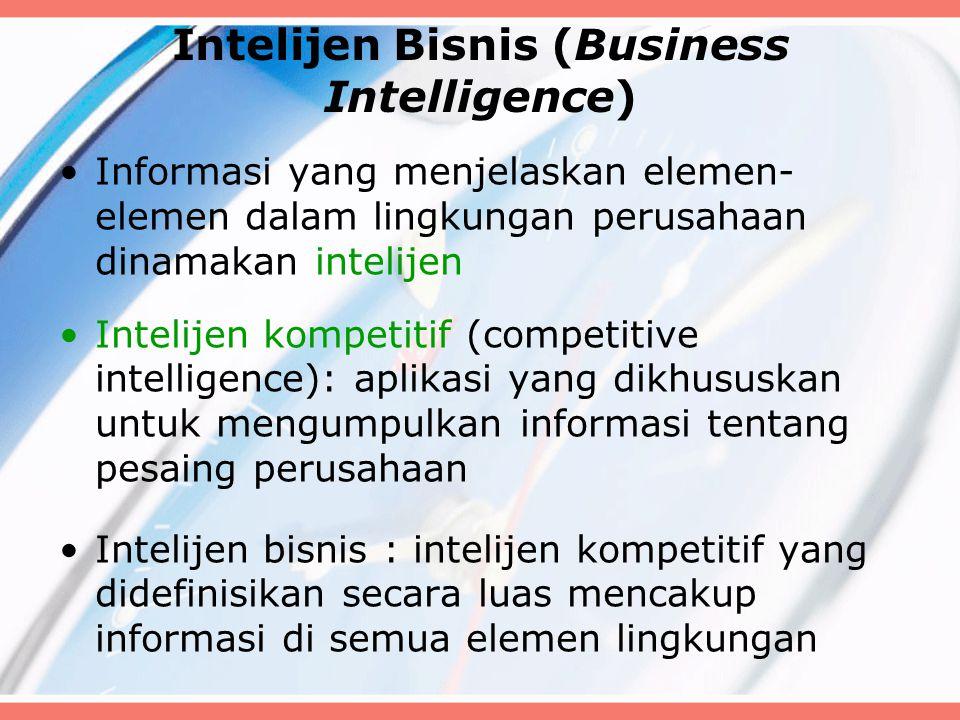 Intelijen Bisnis (Business Intelligence) Informasi yang menjelaskan elemen- elemen dalam lingkungan perusahaan dinamakan intelijen Intelijen kompetitif (competitive intelligence): aplikasi yang dikhususkan untuk mengumpulkan informasi tentang pesaing perusahaan Intelijen bisnis : intelijen kompetitif yang didefinisikan secara luas mencakup informasi di semua elemen lingkungan