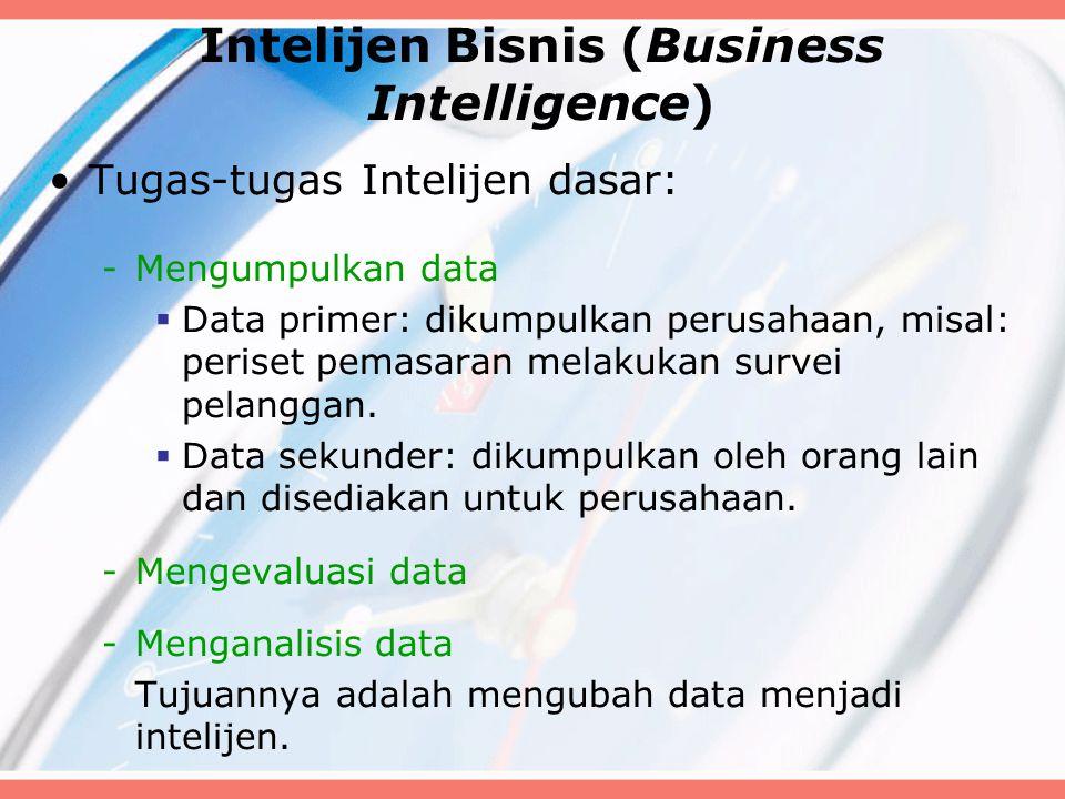 Intelijen Bisnis (Business Intelligence) Tugas-tugas Intelijen dasar: -Mengumpulkan data  Data primer: dikumpulkan perusahaan, misal: periset pemasar