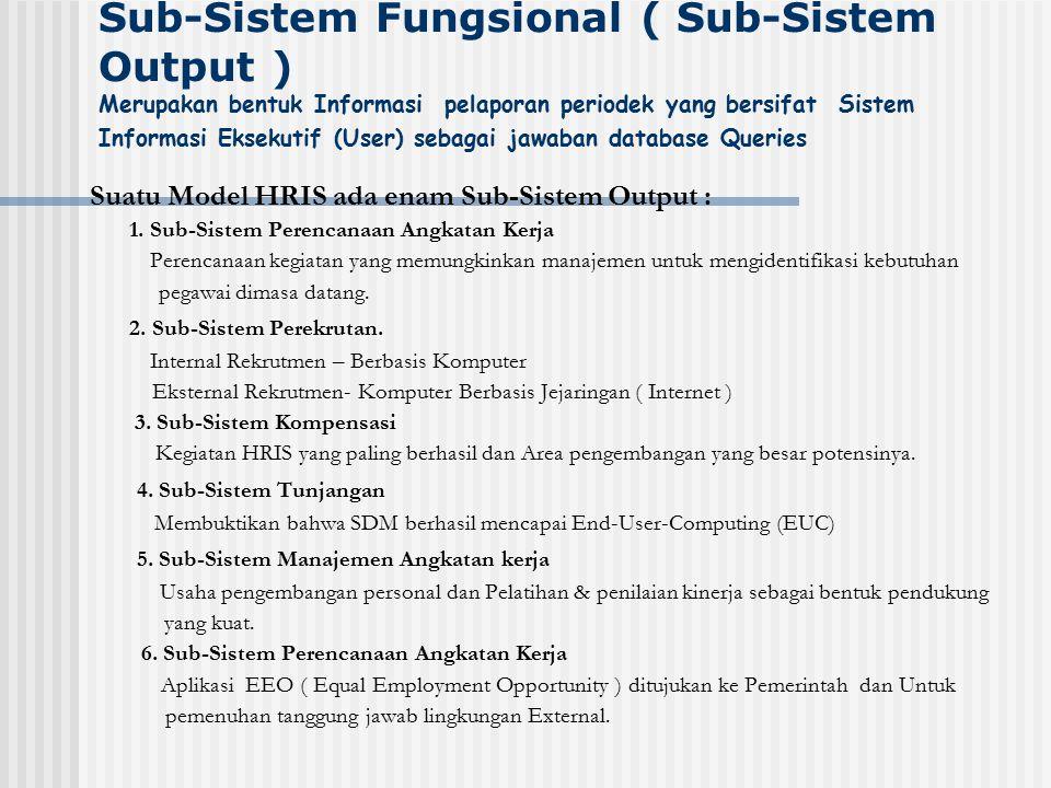 Sub-Sistem Fungsional ( Sub-Sistem Output ) Merupakan bentuk Informasi pelaporan periodek yang bersifat Sistem Informasi Eksekutif (User) sebagai jawa
