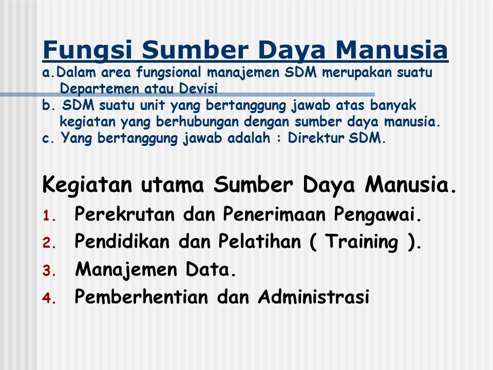 Fungsi Sumber Daya Manusia a.Dalam area fungsional manajemen SDM merupakan suatu Departemen atau Devisi b. SDM suatu unit yang bertanggung jawab atas