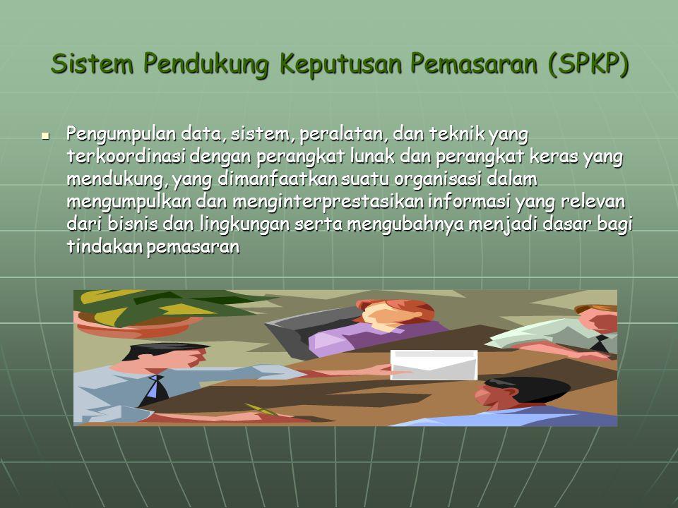 Sistem Pendukung Keputusan Pemasaran (SPKP) Pengumpulan data, sistem, peralatan, dan teknik yang terkoordinasi dengan perangkat lunak dan perangkat ke