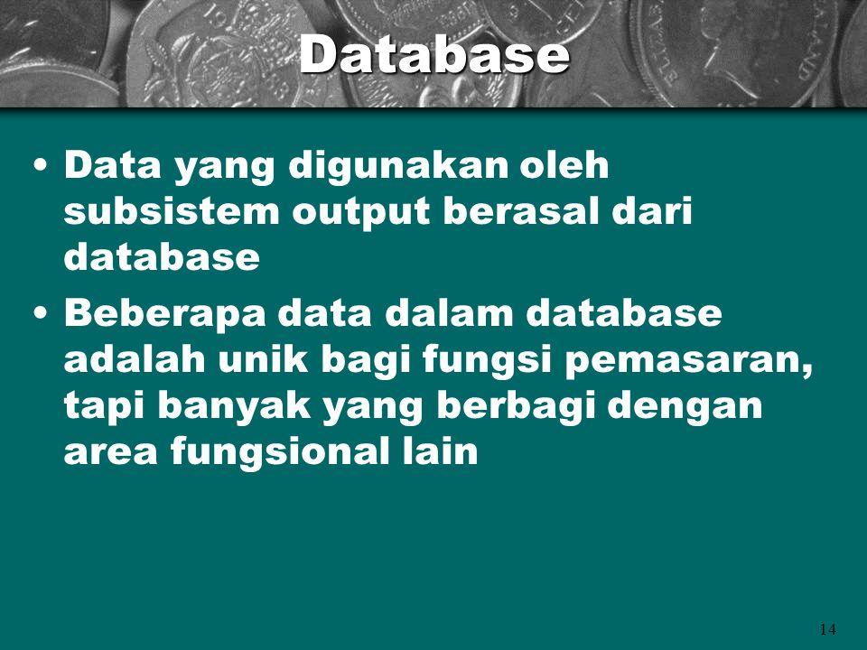 14Database Data yang digunakan oleh subsistem output berasal dari database Beberapa data dalam database adalah unik bagi fungsi pemasaran, tapi banyak