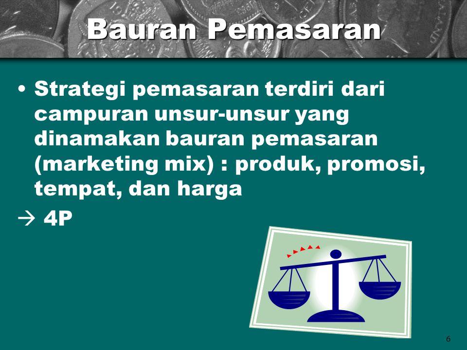 6 Bauran Pemasaran Strategi pemasaran terdiri dari campuran unsur-unsur yang dinamakan bauran pemasaran (marketing mix) : produk, promosi, tempat, dan