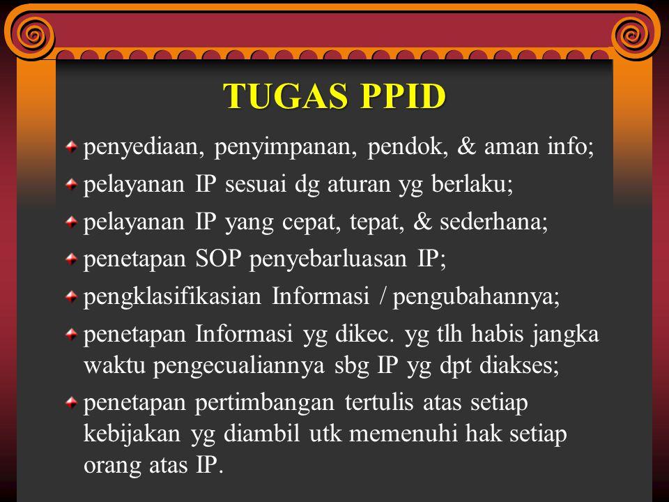 TUGAS PPID penyediaan, penyimpanan, pendok, & aman info; pelayanan IP sesuai dg aturan yg berlaku; pelayanan IP yang cepat, tepat, & sederhana; peneta