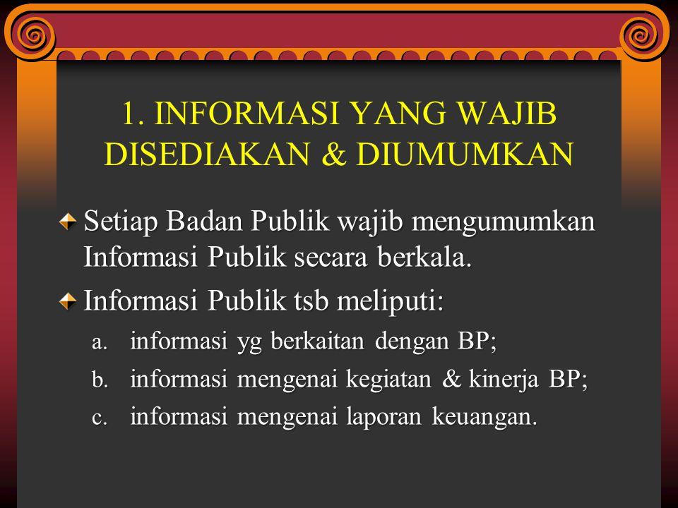 1. INFORMASI YANG WAJIB DISEDIAKAN & DIUMUMKAN Setiap Badan Publik wajib mengumumkan Informasi Publik secara berkala. Informasi Publik tsb meliputi: a
