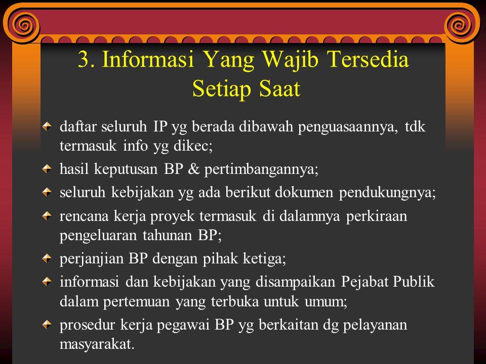 3. Informasi Yang Wajib Tersedia Setiap Saat daftar seluruh IP yg berada dibawah penguasaannya, tdk termasuk info yg dikec; hasil keputusan BP & perti