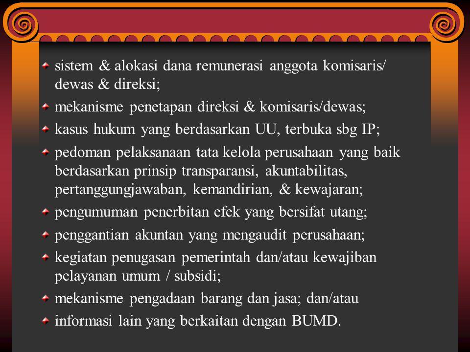 sistem & alokasi dana remunerasi anggota komisaris/ dewas & direksi; mekanisme penetapan direksi & komisaris/dewas; kasus hukum yang berdasarkan UU, t