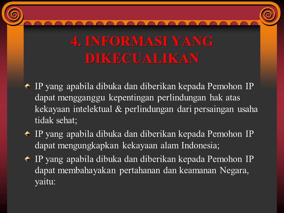 4. INFORMASI YANG DIKECUALIKAN IP yang apabila dibuka dan diberikan kepada Pemohon IP dapat mengganggu kepentingan perlindungan hak atas kekayaan inte