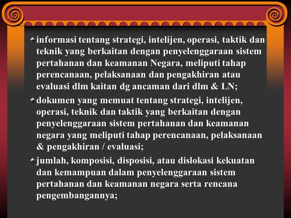 informasi tentang strategi, intelijen, operasi, taktik dan teknik yang berkaitan dengan penyelenggaraan sistem pertahanan dan keamanan Negara, meliput