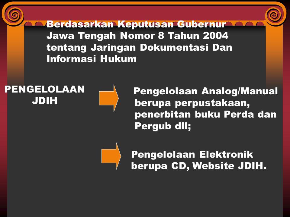 Berdasarkan Keputusan Gubernur Jawa Tengah Nomor 8 Tahun 2004 tentang Jaringan Dokumentasi Dan Informasi Hukum PENGELOLAAN JDIH Pengelolaan Analog/Man