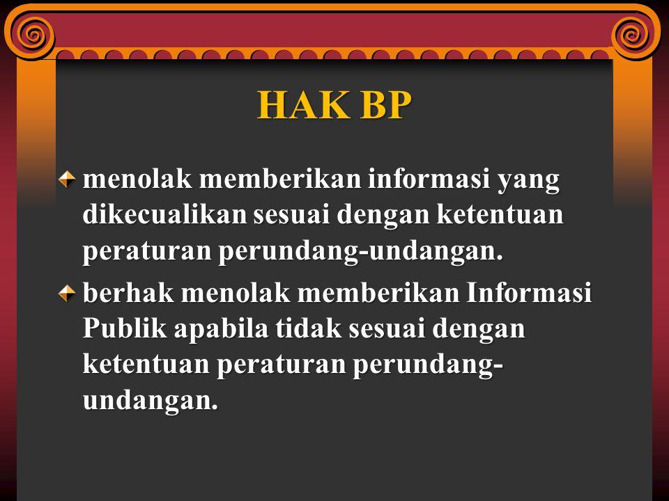 Informasi Publik yg tdk dpt diberikan oleh BP informasi yg dapat membahayakan negara dan/atau Daerah; informasi yg berkaitan dg kepentingan perlin- dungan usaha & persaingan usaha tdk sehat; informasi yg berkaitan dg hak-hak pribadi; informasi yg berkaitan dg rahasia jab; Informasi Publik yg diminta blm dikuasai / didokumentasikan.
