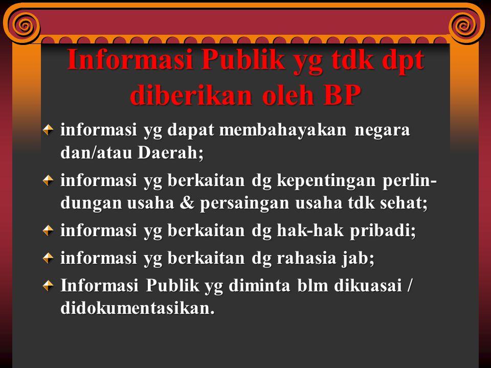 Informasi Publik yg tdk dpt diberikan oleh BP informasi yg dapat membahayakan negara dan/atau Daerah; informasi yg berkaitan dg kepentingan perlin- du