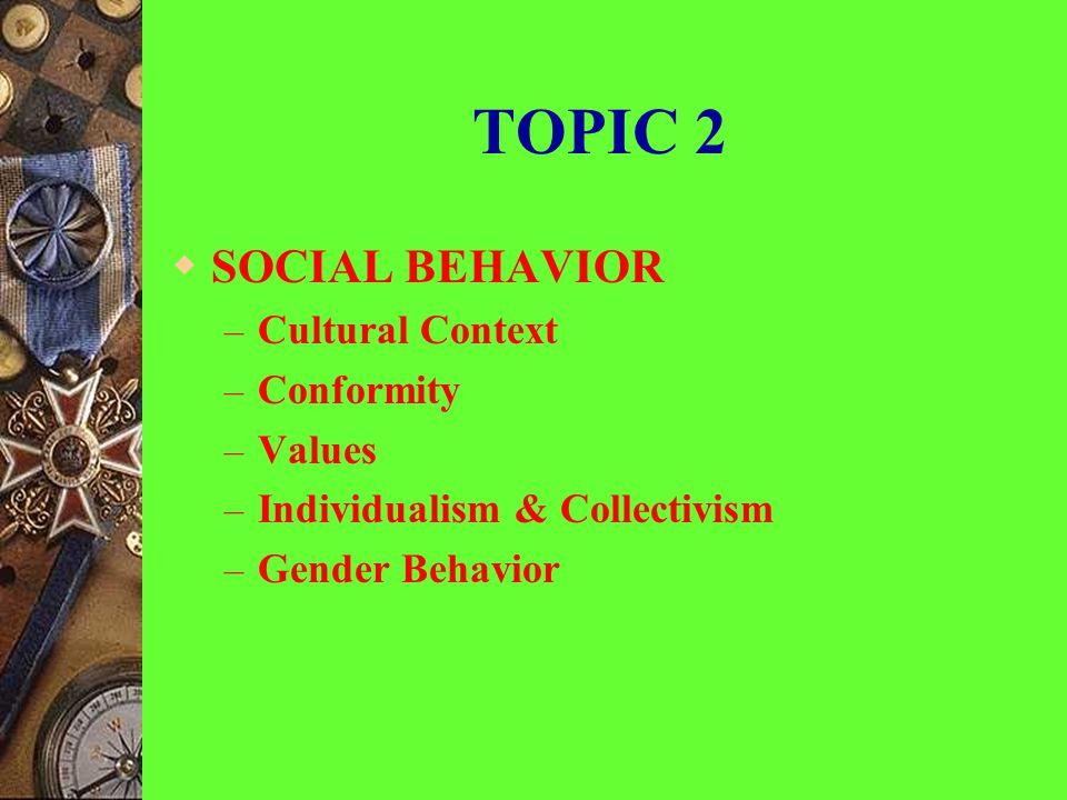 TOPICS-1  DEVELOPMENTAL – Enculturation & Socialization – Child-rearing Practices – The Concepts of Development – Infant Development