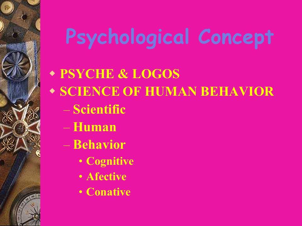 Psychological Concept  PSYCHE & LOGOS  SCIENCE OF HUMAN BEHAVIOR – Scientific – Human – Behavior Cognitive Afective Conative