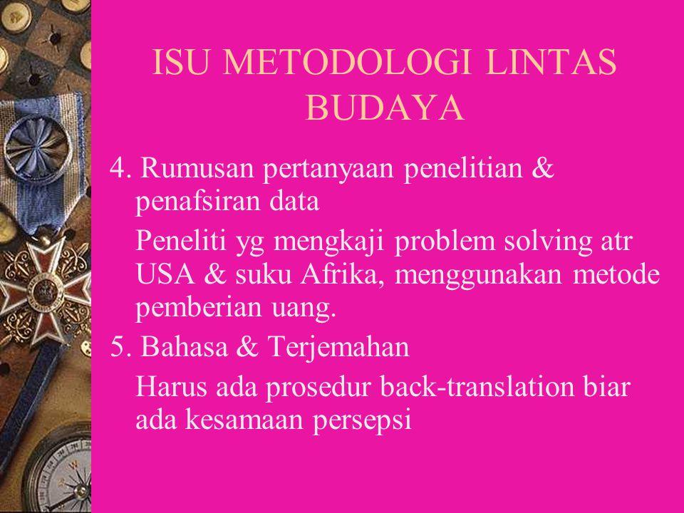 ISU-ISU UTAMA DALAM METODOLOGI PENELITIAN LINTAS BUDAYA 1.Definisi Budaya Secara Operasional  Kesulitan dalam mendefinisikan dan mengukur budaya  Ke