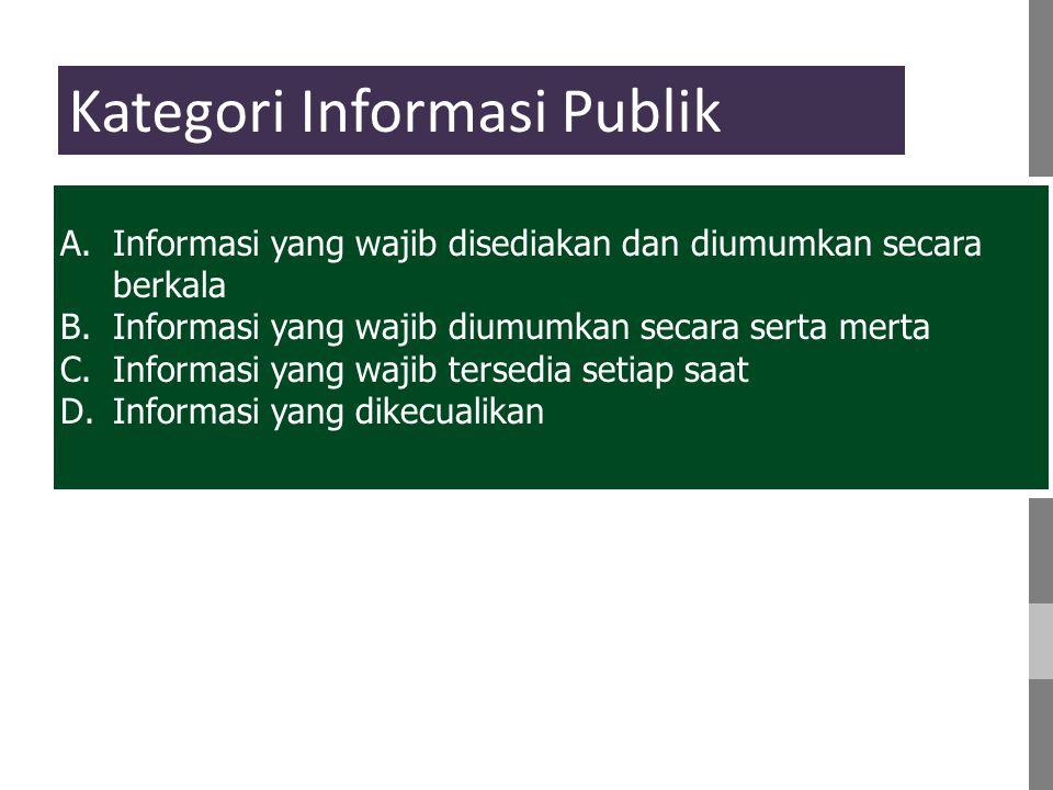 A.Informasi yang wajib disediakan dan diumumkan secara berkala B.Informasi yang wajib diumumkan secara serta merta C.Informasi yang wajib tersedia setiap saat D.Informasi yang dikecualikan Kategori Informasi Publik