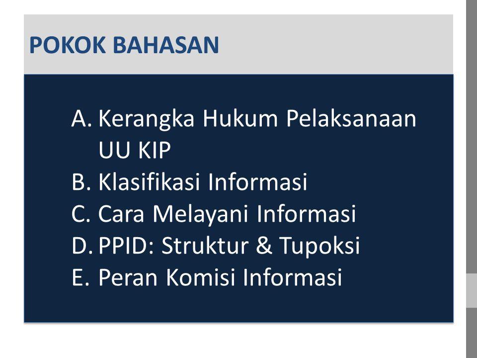 A. A POKOK BAHASAN A.Kerangka Hukum Pelaksanaan UU KIP B.Klasifikasi Informasi C.Cara Melayani Informasi D.PPID: Struktur & Tupoksi E.Peran Komisi Inf