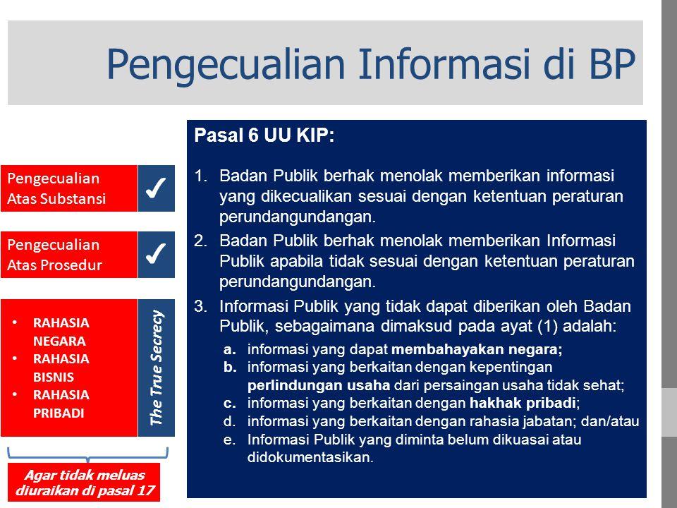 Pengecualian Informasi di BP Pasal 6 UU KIP: 1.Badan Publik berhak menolak memberikan informasi yang dikecualikan sesuai dengan ketentuan peraturan perundangundangan.