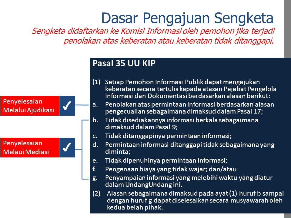 Dasar Pengajuan Sengketa Sengketa didaftarkan ke Komisi Informasi oleh pemohon jika terjadi penolakan atas keberatan atau keberatan tidak ditanggapi.