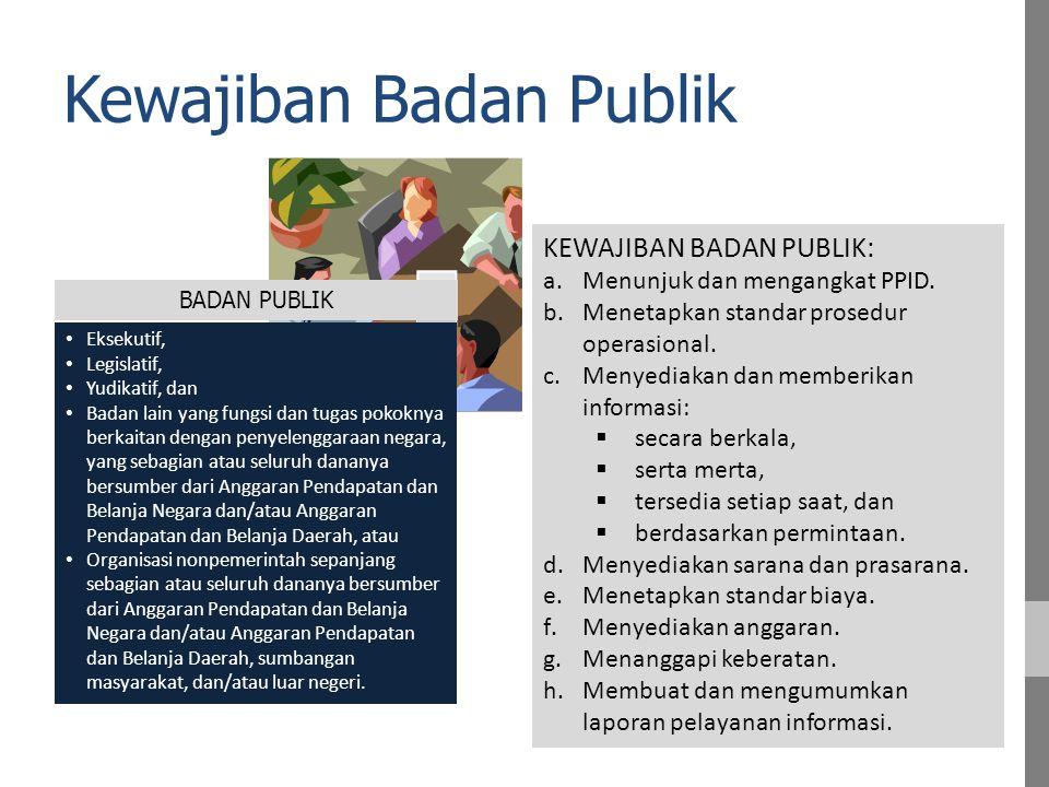 1.Peraturan Pimpinan Badan Publik tentang Pedoman Pengelolaan Informasi dan Dokumentasi di Lingkungan BP [SPO Layanan Info Publik = SPOLIP); 2.Keputusan Pimpinan Badan Publik tentang Organisasi dan Pejabat Pengelola Informasi dan Dokumentasi di Lingkungan BP; 3.Keputusan Pimpinan Badan Publik tentang Daftar Informasi Publik yang Dikecualikan di Lingkungan BP; 4.Keputusan Pimpinan BP ttg Standar Biaya Perolehan Informasi Publik; 5.Menyiapkan anggaran; 6.SOP Melayani Informasi; SOP Menangani Keberatan dan Sengketa Informasi; 7.Membentuk KI Provinsi bagi Pemprov Apa yg harus disiapkan Badan Publik ?