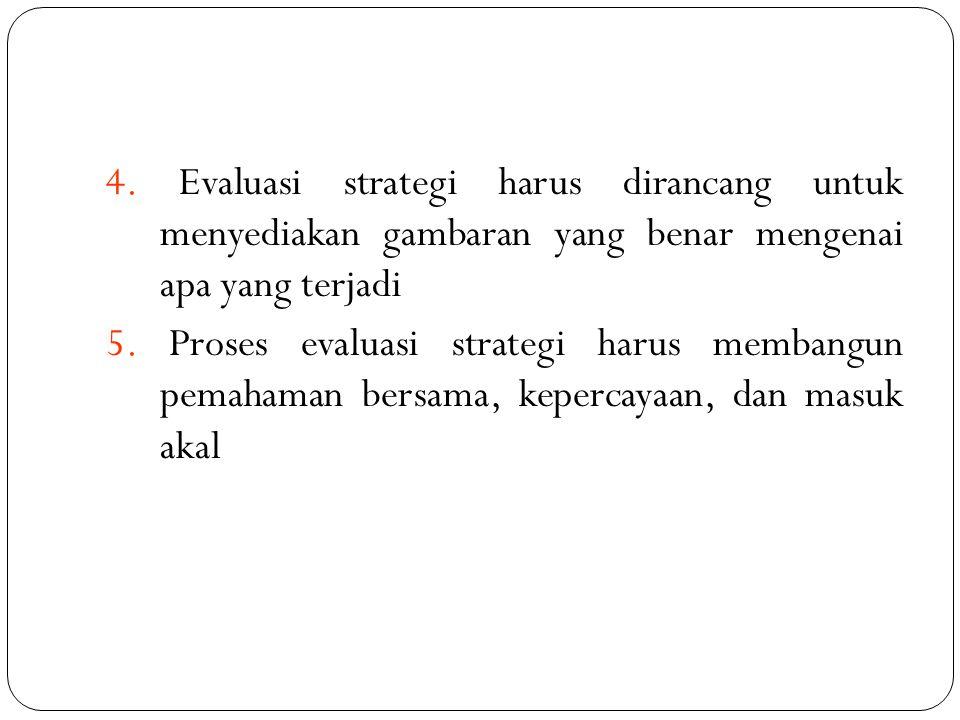 4. Evaluasi strategi harus dirancang untuk menyediakan gambaran yang benar mengenai apa yang terjadi 5. Proses evaluasi strategi harus membangun pemah