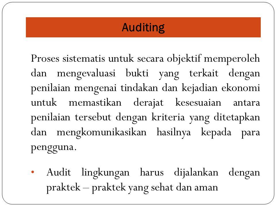 Auditing Proses sistematis untuk secara objektif memperoleh dan mengevaluasi bukti yang terkait dengan penilaian mengenai tindakan dan kejadian ekonom