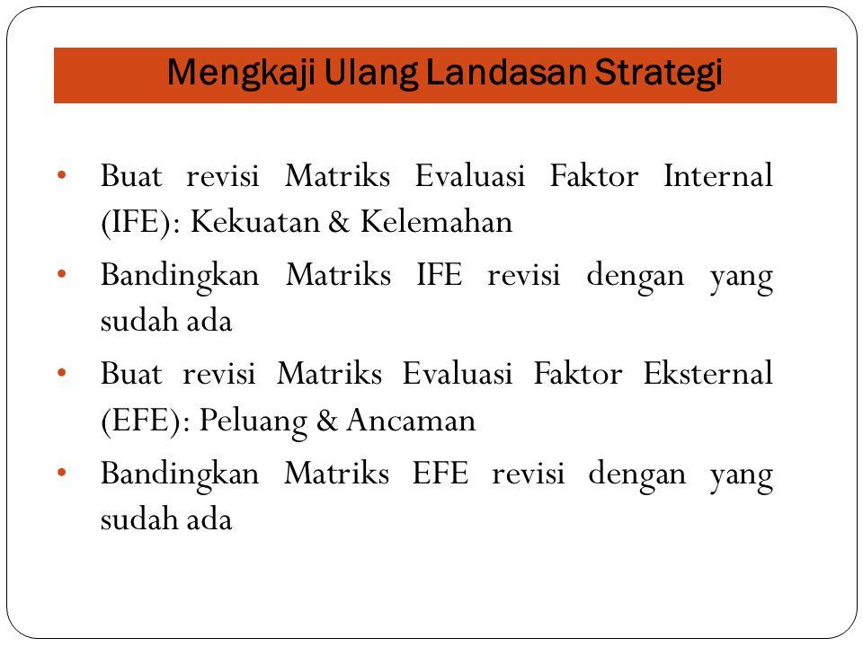 Mengkaji Ulang Landasan Strategi Buat revisi Matriks Evaluasi Faktor Internal (IFE): Kekuatan & Kelemahan Bandingkan Matriks IFE revisi dengan yang su