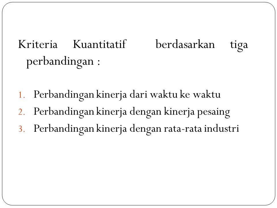 Kriteria Kuantitatif berdasarkan tiga perbandingan : 1. Perbandingan kinerja dari waktu ke waktu 2. Perbandingan kinerja dengan kinerja pesaing 3. Per