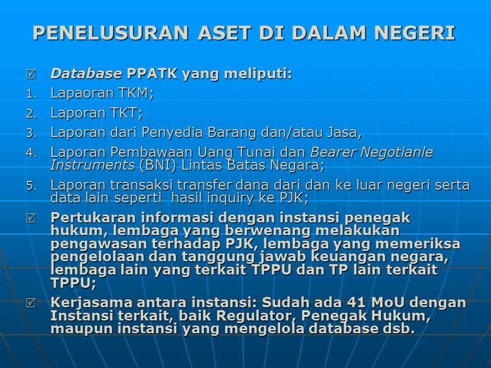 Database PPATK yang meliputi: 1.Lapaoran TKM; 2.