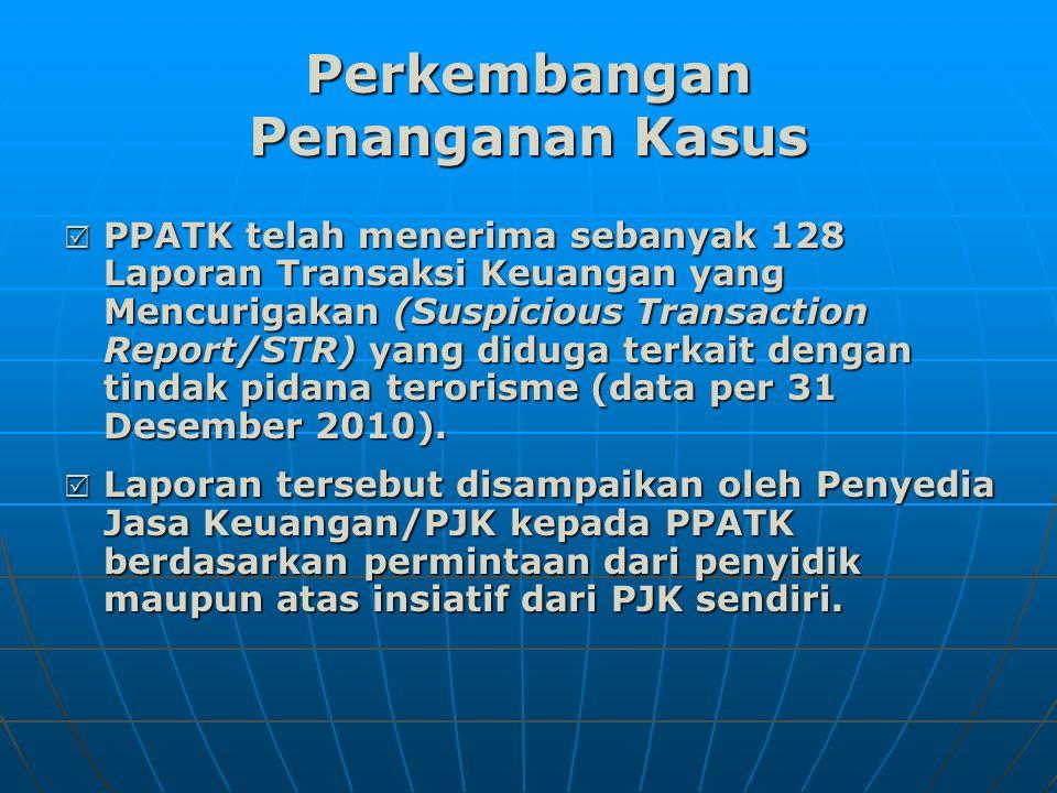 Perkembangan Penanganan Kasus  PPATK telah menerima sebanyak 128 Laporan Transaksi Keuangan yang Mencurigakan (Suspicious Transaction Report/STR) yang diduga terkait dengan tindak pidana terorisme (data per 31 Desember 2010).