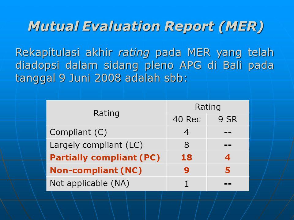 Rekapitulasi akhir rating pada MER yang telah diadopsi dalam sidang pleno APG di Bali pada tanggal 9 Juni 2008 adalah sbb: Mutual Evaluation Report (MER) Rating 40 Rec 9 SR Compliant (C) 4-- Largely compliant (LC) 8-- Partially compliant (PC) 184 Non-compliant (NC) 95 Not applicable (NA) 1--