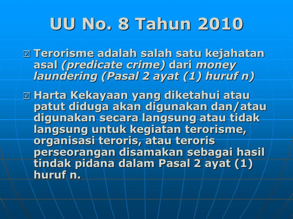 Perkembangan (lanjutan…)  Laporan tersebut menyangkut rekening di PJK yang diduga terkait dengan kasus tindak pidana terorisme.